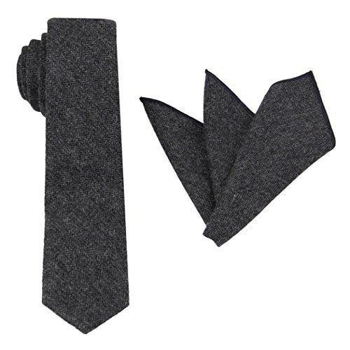 Charcoal Wool Herringbone - Mens Herringbone Wool Tie Set: Necktie with Matching Pocket Square (Charcoal)