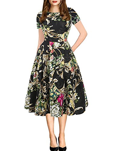 Party Wear Dresses - oxiuly Women's Vintage Patchwork Pockets Puffy Swing Casual Party Dress OX165 (L, Black Yellow)