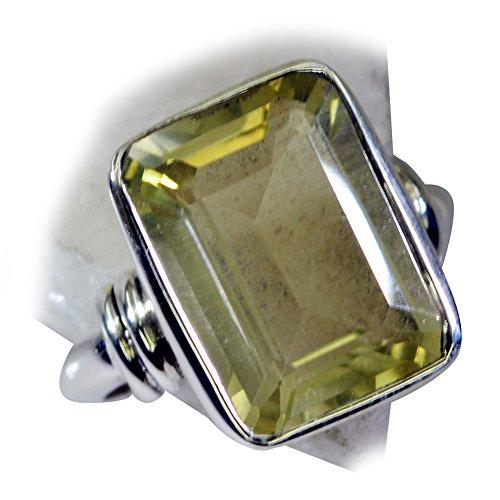 (CaratYogi Elegant Design Real Lemon Quartz Promise Ring in Silver Rectangle Shape Bezel Style Size 6.5)