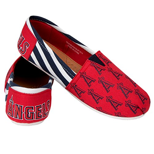 FOCO MLB Los Angeles Angels Women's Canvas Stripe Shoes, Small (5-6), Red