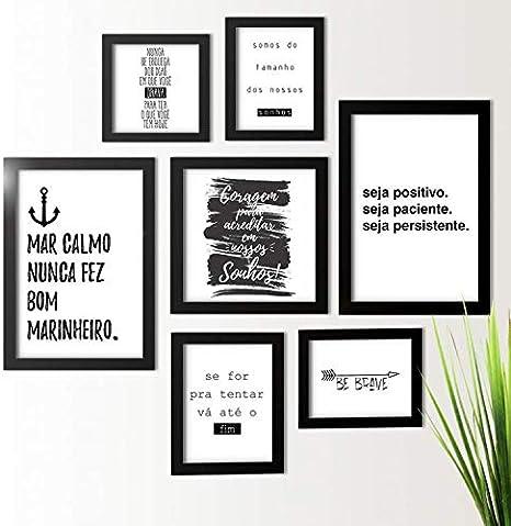 Kit De Quadros Decorativos 7 Peças Frases Motivacionais Los