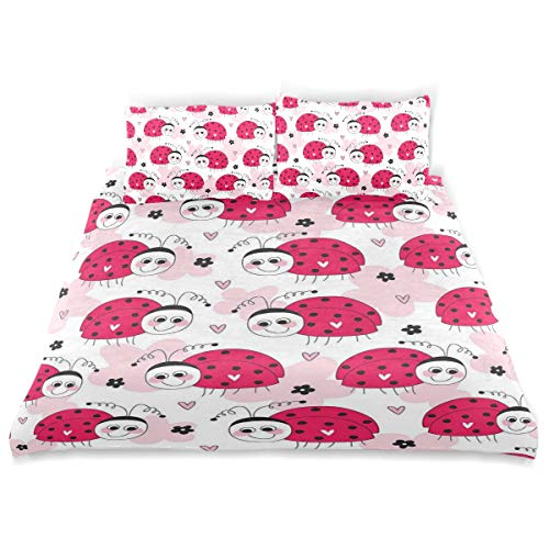 KVMV Cute Ladybug Pattern Duvet Cover Set Design Bedding Decoration Twin XL 3 PC Sets 1 Duvets Covers with 2 Pillowcase Microfiber Bedding Set Bedroom Decor Accessories