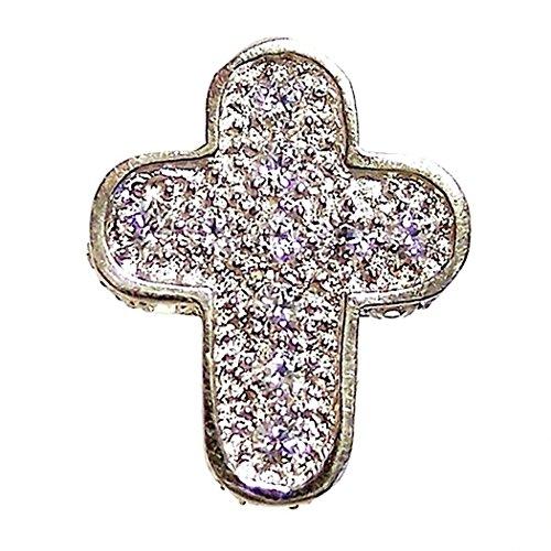 18k blanc zircone croix d'or pendentif [4679]