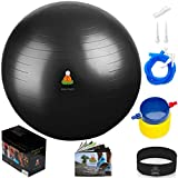 Exercise Ball Balance Anti-Burst Balls | Best Professional Stability Set – Yoga Large Thick Fitness Ball With Pump & Accessories, Extra Pins For Valve, Premium Elastic Loop &Hard Cover Workout Guide …