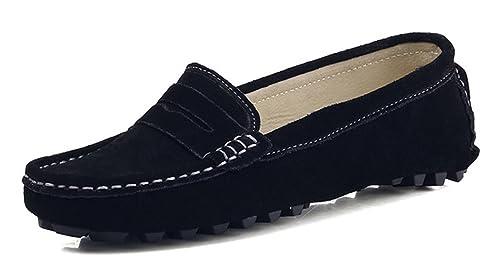 KOUDYEN Mujer Gamuza Mocasines de Cuero Moda Loafers Casual Zapatos de Conducción Zapatillas: Amazon.es: Zapatos y complementos