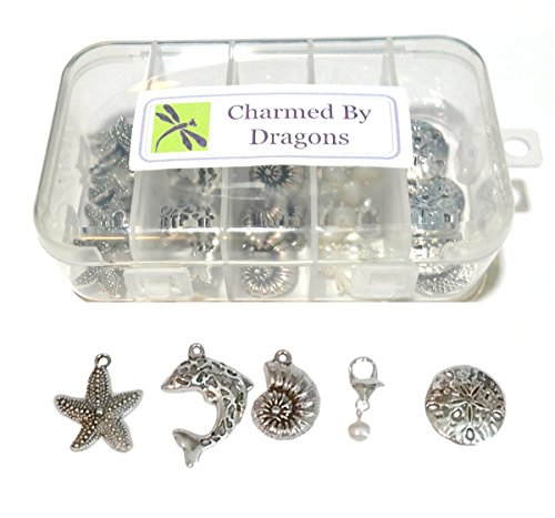 (Seaside Beach Charms Mixed 50 Pc Set Antiqued Silver Metal with Crafts Kit Storage Container)