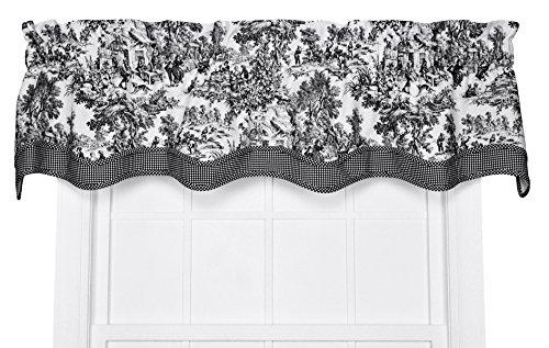 (Victoria Park Toile Bradford Valence Window Curtain, 70 Inch - 15 Inch, Black )