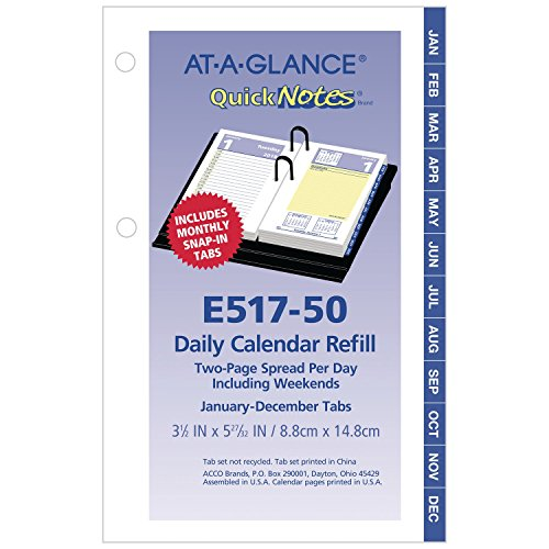 at-A-Glance Daily Desk Calendar Refill, QuickNotes, January 2019 - December 2019, 3-1/2
