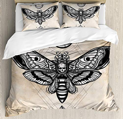 Ambesonne Fantasy Duvet Cover Set King Size, Dead Head Hawk Moth with Luna and Stone Magic Skull Illustration, Decorative 3 Piece Bedding Set with 2 Pillow Shams, Black Beige