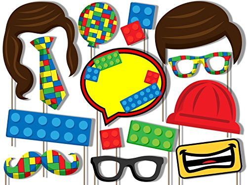Building Blocks Photo Booth Props Kit - 20 Pack Party Camera Props Fully -