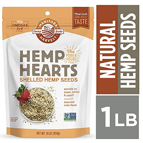 - Manitoba Harvest Hemp Hearts Raw Shelled Hemp Seeds, 1lb; with 10g Protein & 12g Omegas per Serving, Non-GMO, Gluten Free - Packaging May Vary