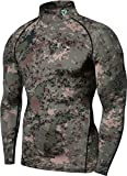 TSLA Men's Mock Long-Sleeved T-Shirt Cool Dry Compression Baselayer Top, Zero Basic(t11) - Camo Green, XX-Large