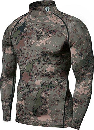 TSLA Men's Mock Long-Sleeved T-Shirt Cool Dry Compression Baselayer Top, Zero Basic(t11) - Camo Green, Small