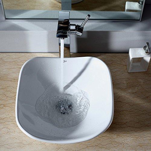 Kraus C-KCV-135-14300CH White Tulip Ceramic Sink and Unicus Faucet Chrome
