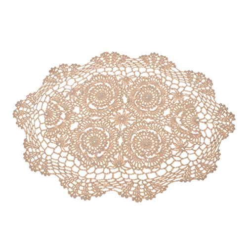 (lychee Vintage Hand Crochet Lace Doily Oval Table Placemat Floral Pattern)