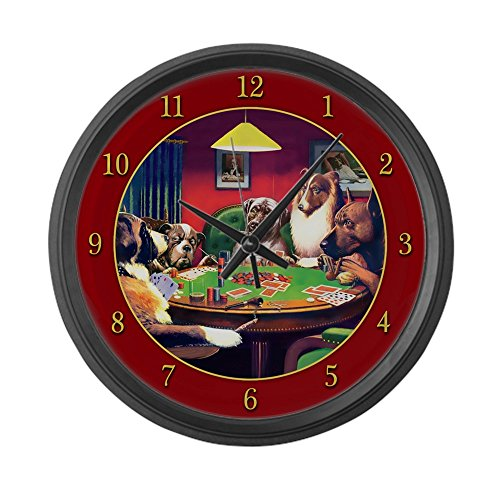 CafePress - Poker Dogs Bluff (Red Border) - Large 17 - Dog Wall Clock