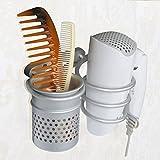 Joyoldelf Space Aluminum Wall Mount Spiral Spring Dryer Holder Rack With Hair Straightener Holder