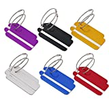 Pack of 12 Luggage Tags, Tenn Well Aluminum Travel Bag Tags with Stainless Steel Loop