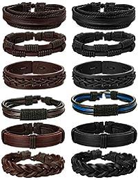 "<span class=""a-offscreen"">[Sponsored]</span>12Pcs Braided Leather Bracelet for Men Women Cuff Wrap Bracelet Adjustable Black and Brown"