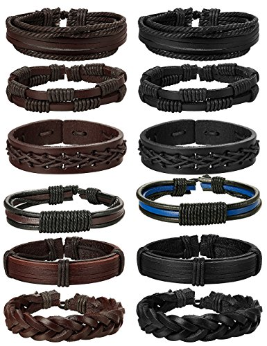 (Jstyle 12Pcs Braided Leather Bracelet for Men Women Cuff Wrap Bracelet Adjustable Black and Brown (A:12Pcs) )