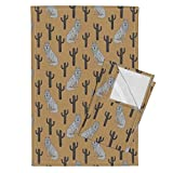 Roostery Wolf Cactus Southwest Neutral Nursery Kids Tea Towels Wolf and Cactus Block Print by Andrea Lauren Set of 2 Linen Cotton Tea Towels