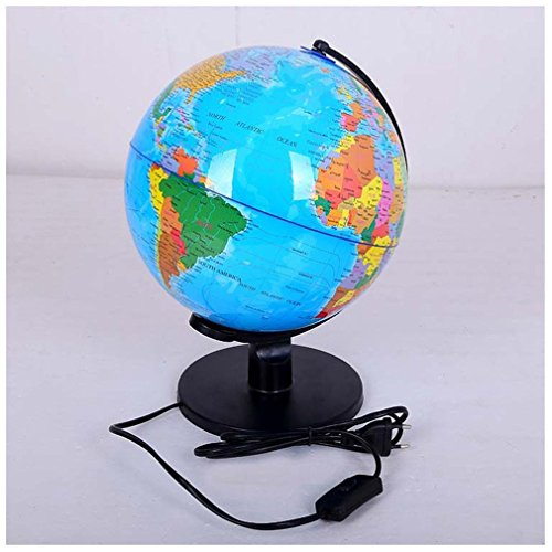 LED Table Lamp Desk Night Light World Globe Map Lamp with Stand for Children Teachers Educational Interactive Astronomy Geographic Map Energy-Saving Earth Lighting Fixture D25cm/9.84inch by JHLIGHT