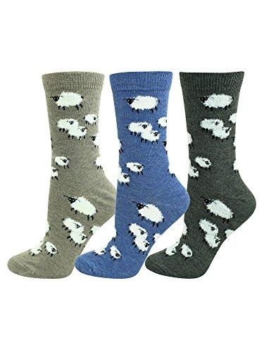 Sheep Farm Print Womens Novelty Socks 3 Pair Pack by Luxury Divas