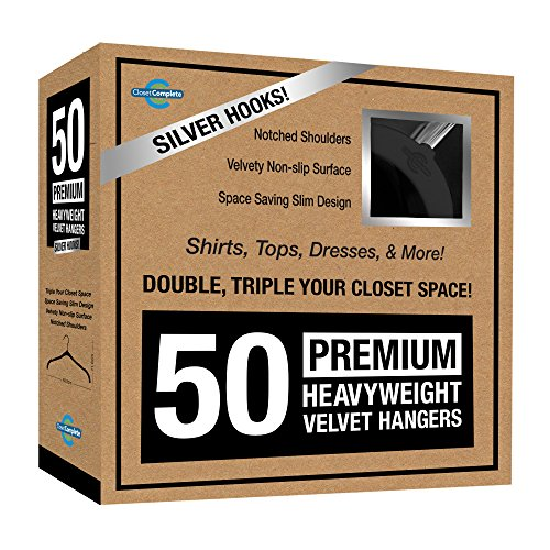 Closet Complete Premium Quality, True-Heavyweight, Virtually-UNBREAKABLE Velvet Hangers, Ultra-Thin, Space Saving, No Slip, Best for SHIRT, DRESS, LINGERIE, 360° SPIN, Chrome Hooks, Black, Set of 50