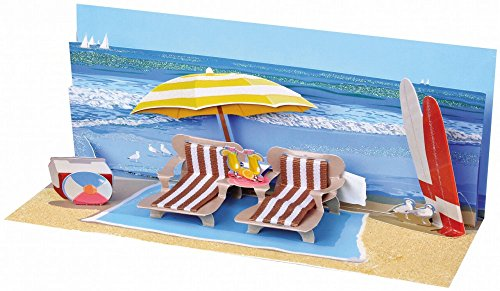 Pop-Up Panoramic Greeting Card - Beach Day (A-001)