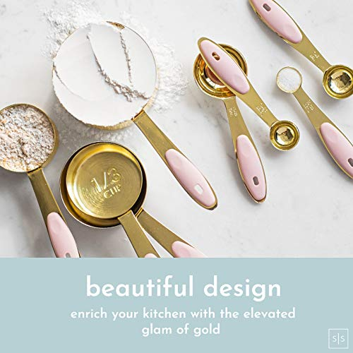 Gold & Pink Measuring Cups and Spoons Set Stainless Steel, Pink Kitchen Accessories,Sturdy 8PC Gold Measuring Cups and Spoons Set with Pink Silicone Handle,Pink Kitchen Decor - Cute Measuring Cups Set