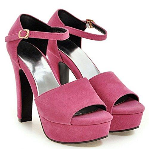 TAOFFEN Mujer Elegante Peep Toe Sandalias Tacon Ancho Tacon Alto Al Tobillo Zapatos Rosa Roja