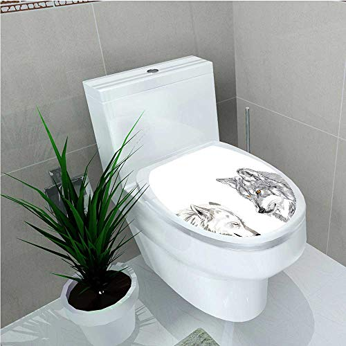 aolankaili Toilet Sticker Old Fashion Italian Street Sceneries with Retro Nostalgic Sketchy Effects Boho Design Black W8 x L11