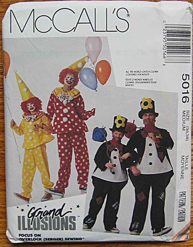 McCall's 5016 Sewing Pattern ~ Grand Illusions Adult Halloween Costumes, Clown & Hobo, Size Medium (36, (Halloween Illusion Costumes)