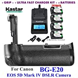 Kastar Pro Multi-Power Vertical Battery Grip (Replacement for BG-E20) + 2 x LP-E6 / LPE6N Replacement Batteries + Ultra Fast Charger Kit for Canon EOS 5D Mark IV, 5D Mark 4 Digital SLR Camera