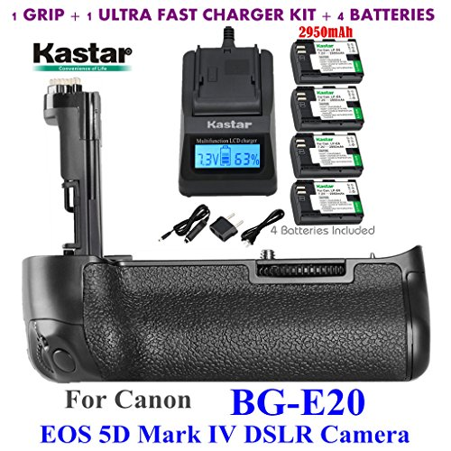 Kastar Pro Multi-Power Vertical Battery Grip (Replacement for BG-E20) + 2 x LP-E6 / LPE6N Replacement Batteries + Ultra Fast Charger Kit for Canon EOS 5D Mark IV, 5D Mark 4 Digital SLR Camera by Kastar
