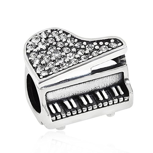 Piano Charm with Crystal Charm Music Charm Art Melody Charm Christmas Charm for Pandora Charm Bracelet (White)