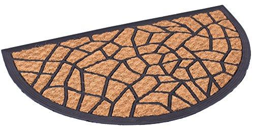 BIRDROCK HOME 18 x 30 Half Round Natural Coir and Rubber Doormat - Natural Fibers - Outdoor Doormat - Keeps Your Floors Clean - Decorative Design - Non Brush Coir