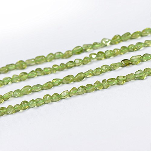 (Natural Peridot Beads 5x6mm NOT Dyed Irregular Shape 15 Inch Strand PD52)