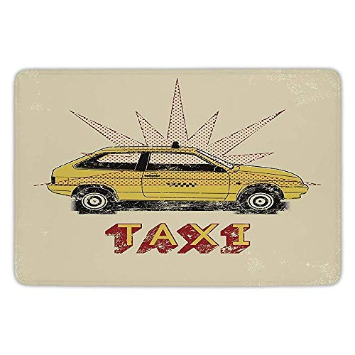 Bathroom Bath Rug Kitchen Floor Mat Carpet,Retro,Pop Art Style Old Fashioned Taxi Cab with Grunge Effects Vintage Car Graphic Decorative,Beige Yellow Ruby,Flannel Microfiber Non-Slip Soft Absorbent (Effects Cab Ground)