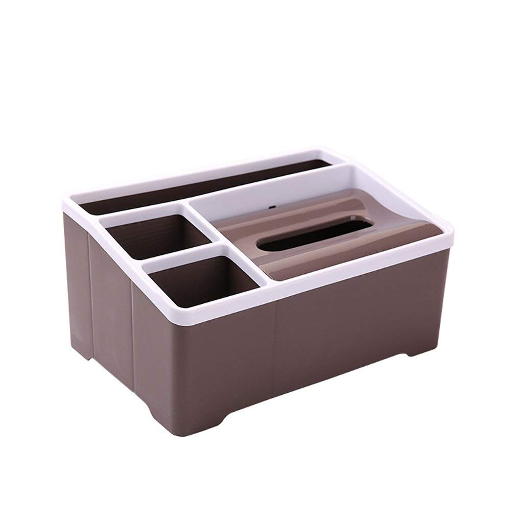 YJLGRYF Tissue Holders Multifunction Brown Tissue Box Holder 4 Slot Plastic Storage Box, Office Desk Organizer Card/Pen/Pencil/Mobile Phone/Remote Control Box Holder Storage Boxes