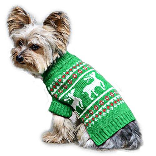 Stinky G Festive Reindeer Dog Sweater Green Size #10 ()