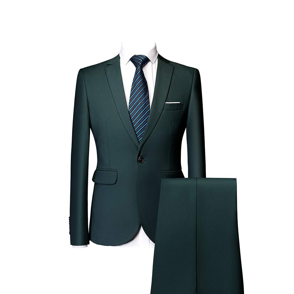 Mens Two Piece Set Single Breasted Slim Fit Prom Suits