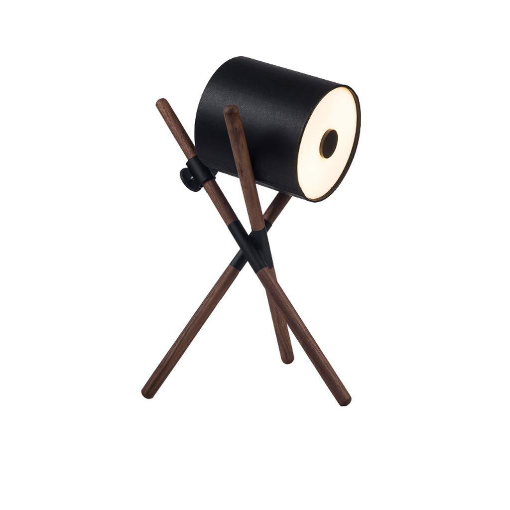 LED Solid Wood Table Lamp Black Walnut Living Room Decoration Sofa Lamp Modern Minimalist Bedroom Bedside Solid Wood Creative Table Lamp (Color : Black)
