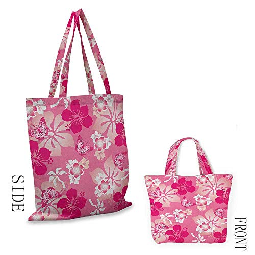 """shopping bag for women LuauAbstract Hibiscus Pattern Dreamlike Fantasy Composition with Butterflies Pale Pink Magenta White18""""W x 16""""H (Shopping Partridge Family Bag)"""