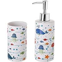 Dispensador y portacepillos de baño de cerámica Infantil
