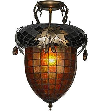 Meyda Tiffany 98063 Greenbriar Oak Flush Mount Light Fixture 14u0026quot; ...  sc 1 st  Amazon.com & Meyda Tiffany 98063 Greenbriar Oak Flush Mount Light Fixture 14 ...