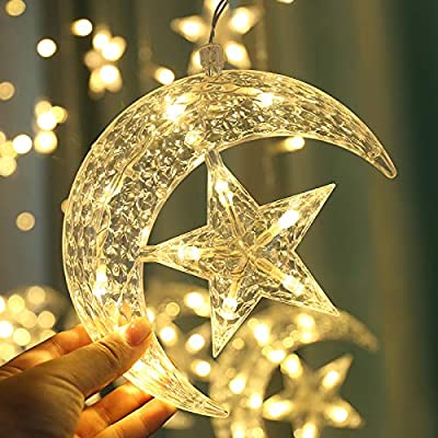 Led Star Curtain Lights, Moon Star String Light 138 LEDs 250CM Length with 8 Modes Plug in Fairy Lights Christmas Window Curtains Light for Home Decoration (Warm White) : Garden & Outdoor
