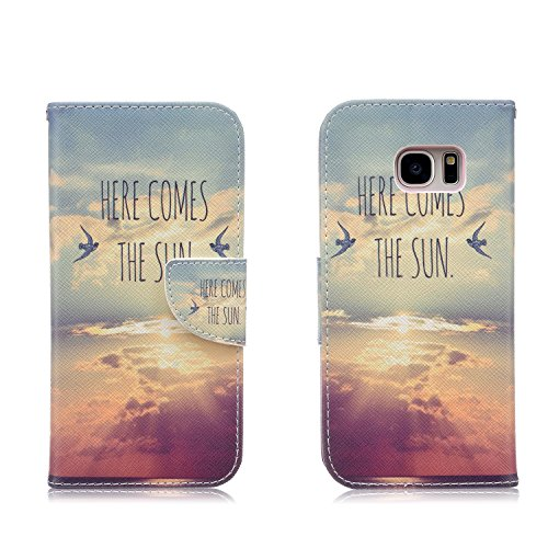 Samsung Galaxy S7 Edge Case,JinLi Printed Pattern Filio Wallet Cellphone Book Protective Cover Designed with Credit Card Slot and Money Holder and Kickstand for Hands Free video (cloud)