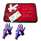 BodyJewelryOnline Traveling Piercing Kit 14ga/16ga/18ga All Included with Leatherate Case - 30 Pieces