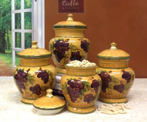 4pc ceramic canister set tuscany grape (Tuscany Kitchen Canisters)